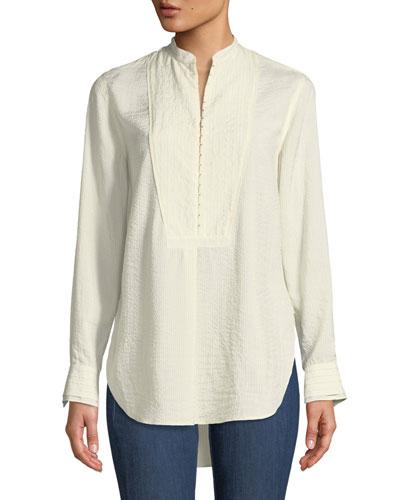 Alfie Hook-Front Long-Sleeve Shirt