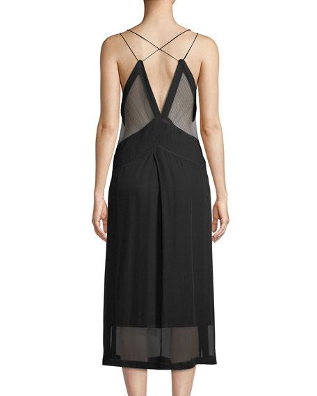 Anais Deep V Silk Dobby Midi Dress