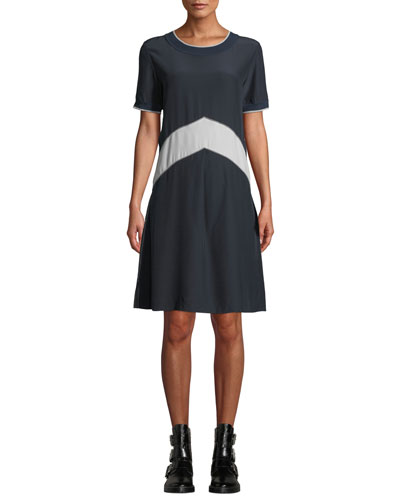 Hannah Chevron Silk Tee Dress