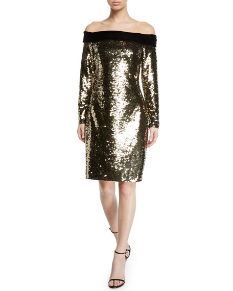 Badgley Mischka Collection Off-the-Shoulder Velvet-Trim Sequin