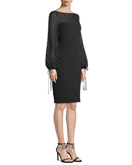 Crystal-Trim Balloon-Sleeve Sheath Cocktail Dress