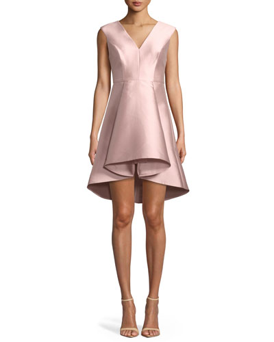 Structured Cap-Sleeve V-Neck High-Low Cocktail Dress