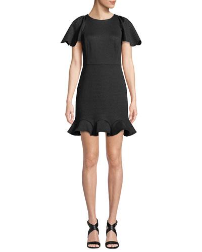 Short-Sleeve Shimmer Knit Cocktail Dress