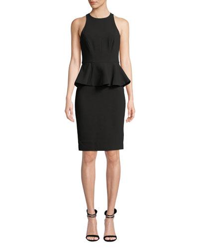 Sleeveless High-Neck Fitted Peplum Cocktail Dress