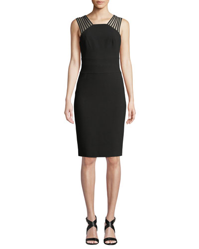 Sleeveless Square-Neck Sheath Dress with Strappy Shoulders