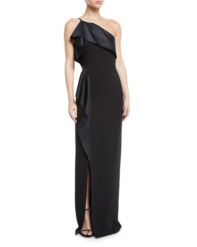 One-Shoulder Satin Draped Gown