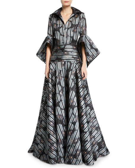 Striped Floral Shirtdress Gown