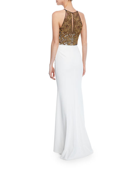 Beaded Halter Column Gown with Keyhole Back