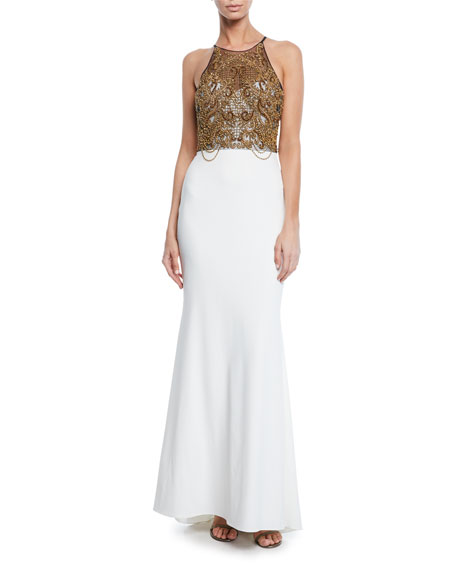 Badgley Mischka Collection Beaded Halter Column Gown with