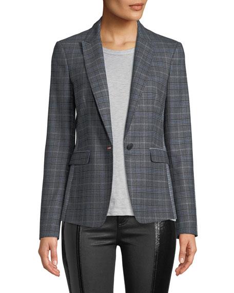 Lexington Mixed-Check Wool Blazer