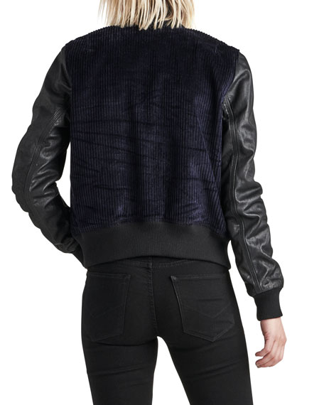 Leather Cord Varsity Bomber Jacket