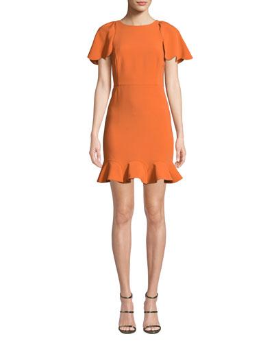 Short Sleeve High-Neck Cocktail Dress with Ruffle Hem
