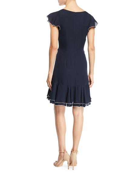 Mateo Silk Short-Sleeve Flounce Dress