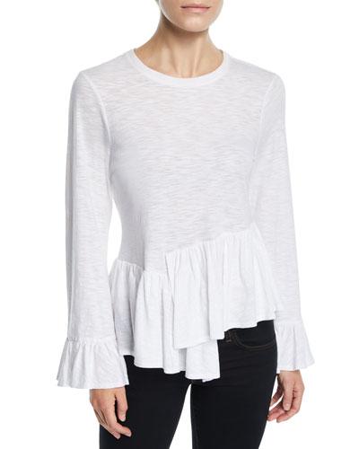 Aziza Bell-Sleeve Asymmetrical Cotton Top