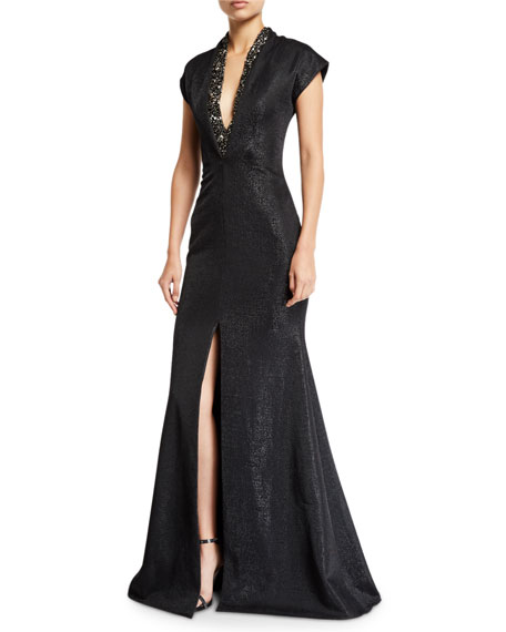 Badgley Mischka Collection Metallic Cap-Sleeve Deep-V Gown w/