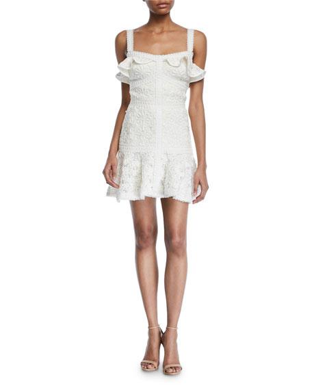 Alexis Dresses Linzi Lace Ruffle Mini Dress, IVORY