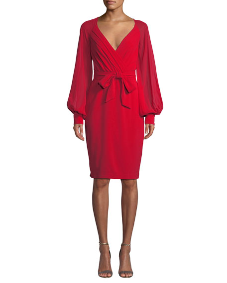 Badgley Mischka Collection V-Neck Blouson-Sleeve Faux-Wrap