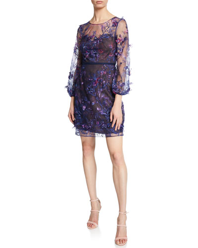 Sweetheart Illusion 3/4-Sleeve Embroidered Dress with 3D Flowers