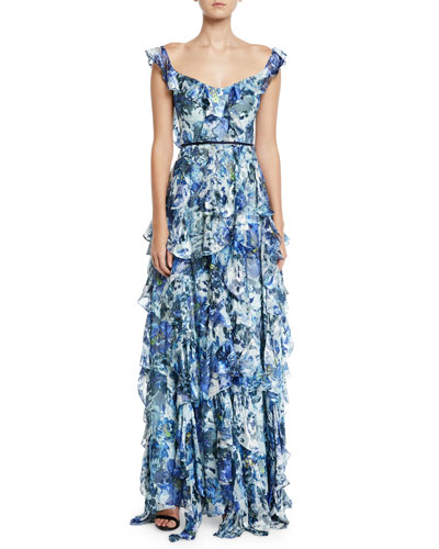 Sleeveless Floral-Print Burnout Cascading Ruffle Gown