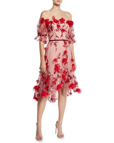 Off-the-Shoulder 3D Floral Embroidered Cocktail Dress