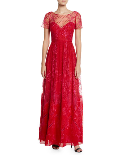 Short-Sleeve Dotted Chiffon Tulle and Guipure Lace Gown