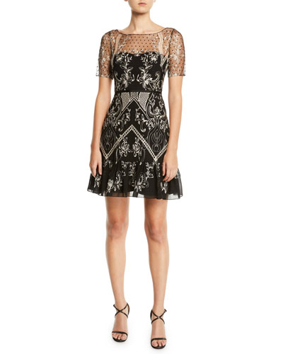Short-Sleeve Dotted Chiffon Cocktail Dress