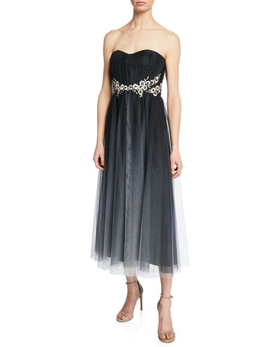 Strapless Ombre Tulle Gown with Beaded Floral-Embroidered Applique