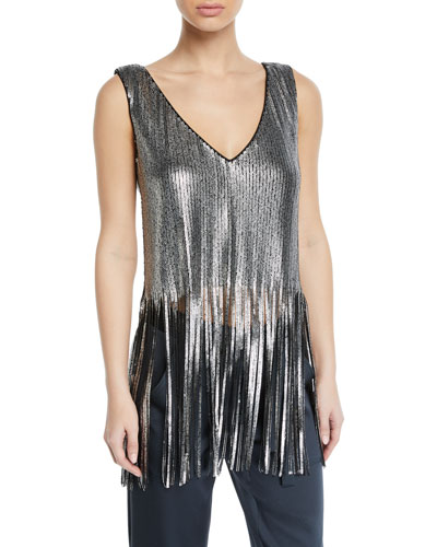 Psychedelic Sequin V-Neck Tank Top with Fringe Hem