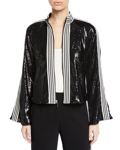 Le Freak Long-Sleeve Sequin Jacket w/ Striped-Trim