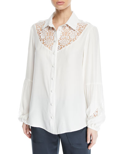 Peace and Love Long-Sleeve Blouse w/ Lace