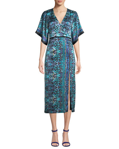 Jokers Short-Sleeve Printed Midi Dress