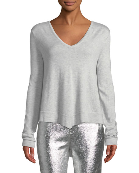 Derek Lam 10 Crosby Sweaters VENTURA V-NECK HIGH-LOW TIERED SWEATER