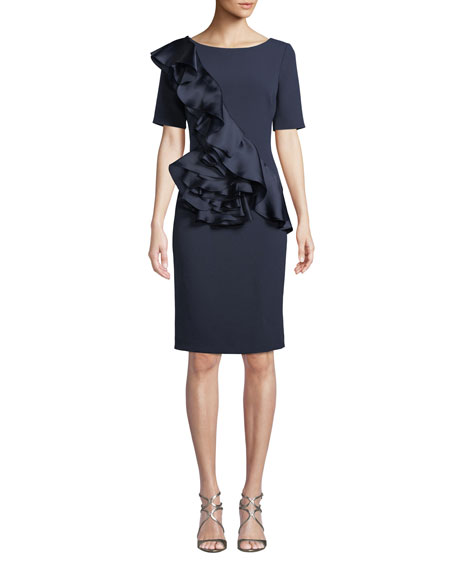 Badgley Mischka Collection Silk Ruffle-Front Sheath Dress