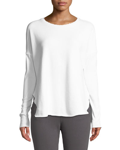 Long-Sleeve High-Low Cotton Fleece Sweatshirt