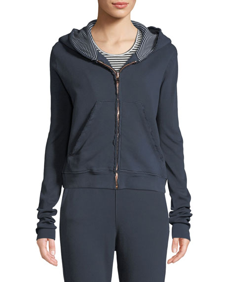 Frayed Zip-Front Cotton Hoodie