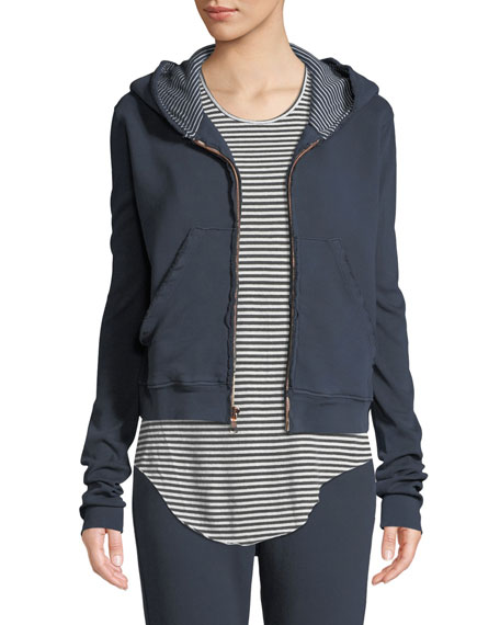 Frayed Zip-Front Cotton Hoodie in Blue Pattern