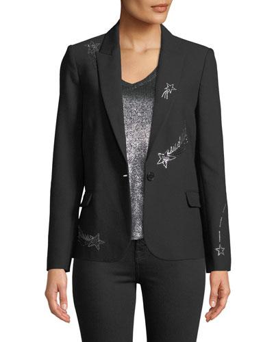 Victor Embellished Single-Button Blazer