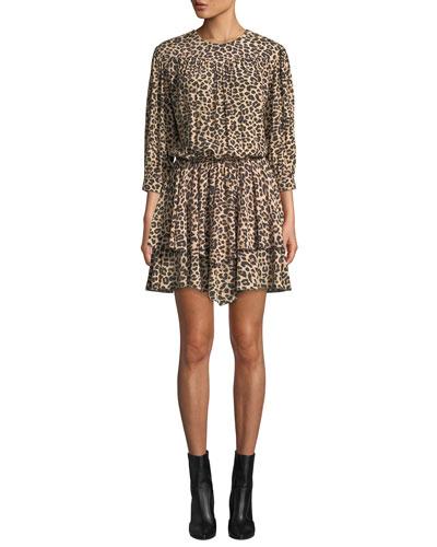 Rooka Shirred Leopard-Print Short Dress