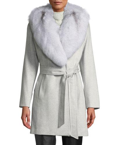 Short Wrap Coat w/ Oversized Fur Shawl