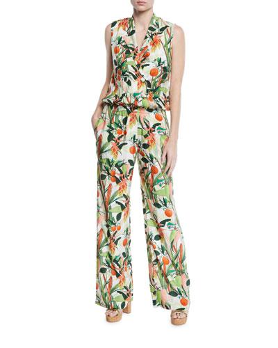 AM to PM Botanical-Print Sleeveless Jumpsuit