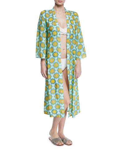 Hand-Beaded Printed Coverup Kimono