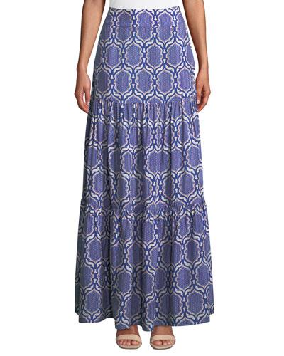 Printed Viscose Coverup Maxi Skirt