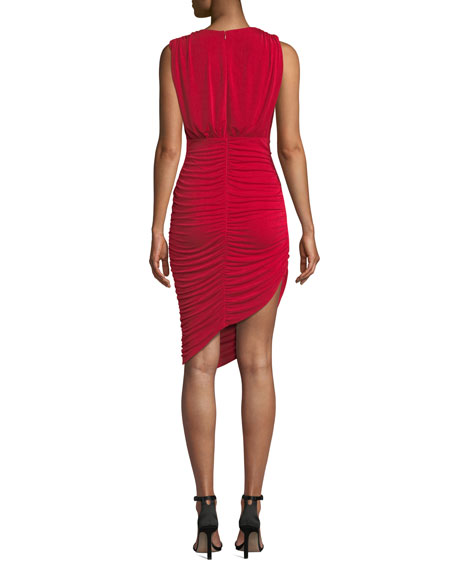 Pia Sleeveless Ruched Asymmetric Dress