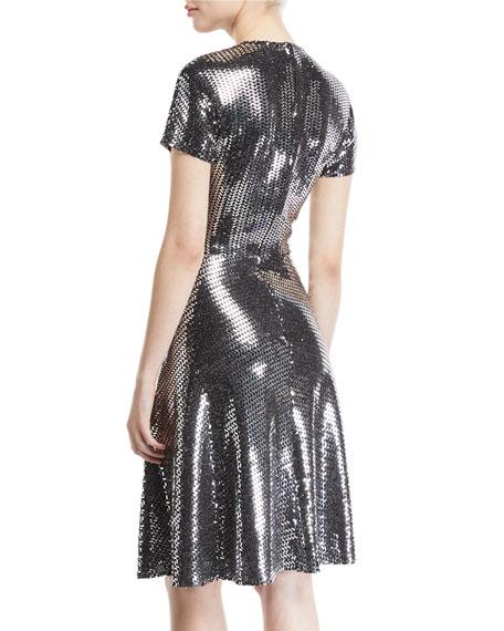 V-Neck Flare Sequined Cocktail Dress
