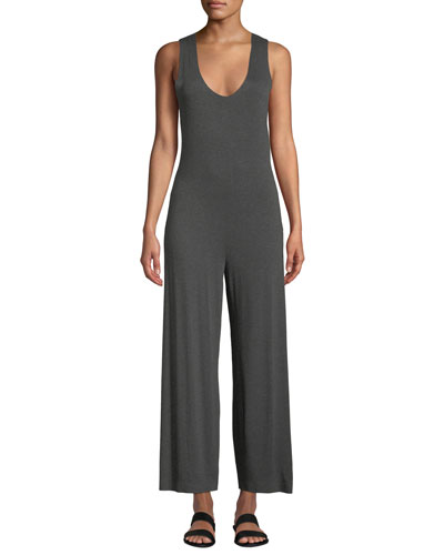 Scoop-Neck Sleeveless Cropped Jumpsuit w/ Crossed Back