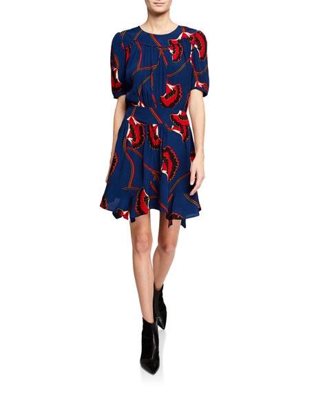 Leo Printed Asymmetrical Short-Sleeve Dress in Blue