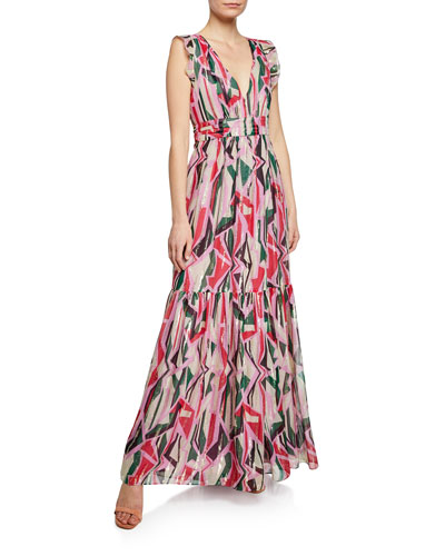 Betty Geo-Print Belted Metallic Long Dress