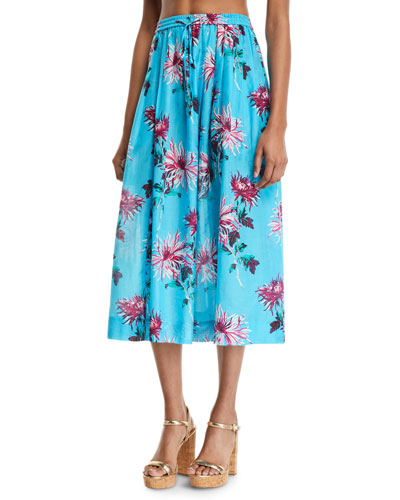 Drawstring Floral-Print Coverup Midi Skirt