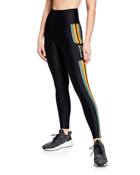 PE Nation Flyzip High-Rise Striped Leggings