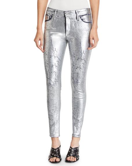 AG Farrah Metallic High-Rise Skinny Jeans